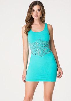 bebe Corset Studded Dress