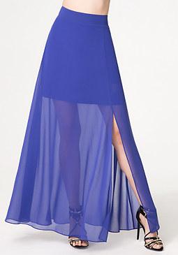 bebe Solid Front Slit Maxi Skirt