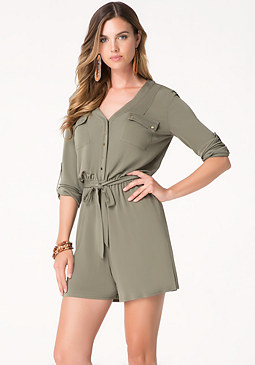 bebe Roll Sleeve Knit Romper