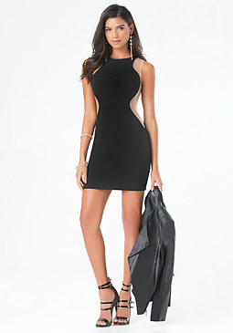 bebe Curved Mesh Inset Dress