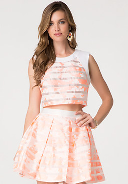 bebe Floral Stripe Crop Top