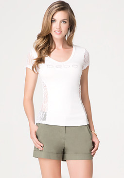 bebe Logo Shirred Side Lace Tee