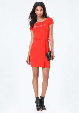 bebe Logo Boatneck Dress