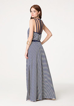 bebe Striped Strappy Maxi Dress