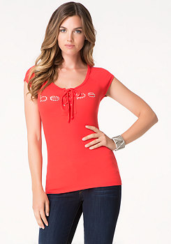 bebe Logo Front Lace Up Top