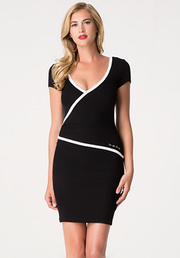 bebe Logo Ribbed Lace Dress