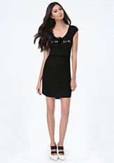 bebe Logo Lace Up Dress