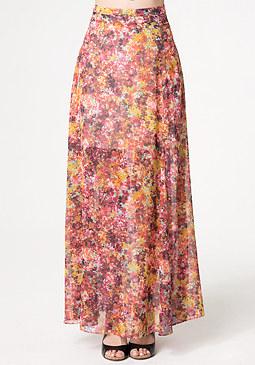 bebe Print Front Slit Maxi Skirt