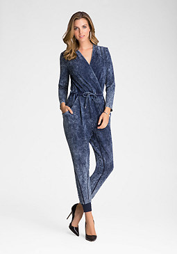 bebe Denim Knit Jumpsuit