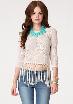 bebe Lace & Fringe Wrap Top