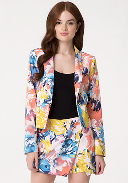 bebe Print Notch Lapel Jacket