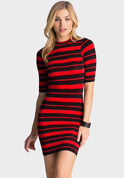 bebe Stripe Mockneck Dress