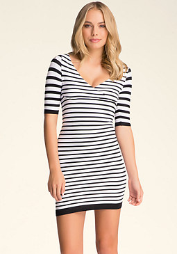 bebe Crossover Stripe Dress