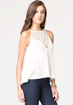 Crochet Yoke Hi-Lo Cami at bebe