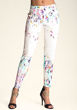bebe Vanished Garden Print Pants