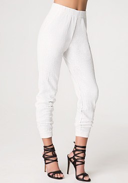 bebe White Sequin Pants