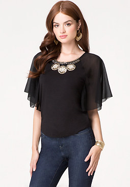 bebe Jeweled Chiffon Sleeve Top