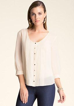bebe Silk Pintuck & Lace Shirt