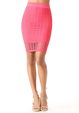 bebe Open Stitch Midi Skirt