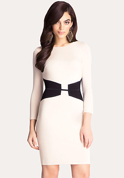 bebe Boatneck Corset Midi Dress