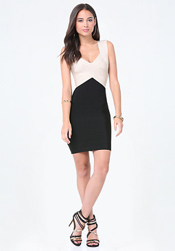 bebe Colorblock Shimmer Dress