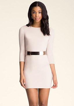 bebe 3/4 Sleeve Bodycon Dress
