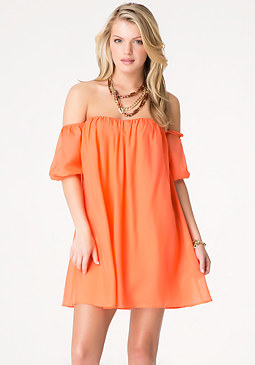 bebe Off Shoulder Silk Dress