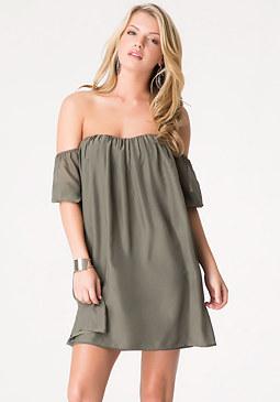 bebe Off Shoulder Silk Dress