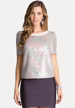 Metallic Woven Top at bebe