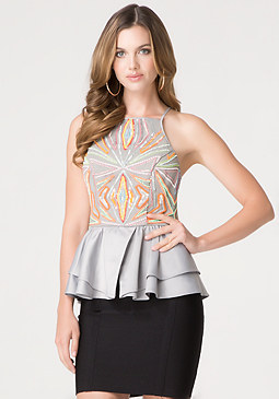 bebe Sequin Ruffle Peplum Top