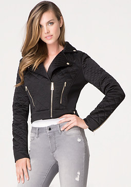bebe Silk Quilted Moto Jacket