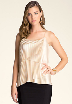 bebe Chain T-Back Pleated Cami