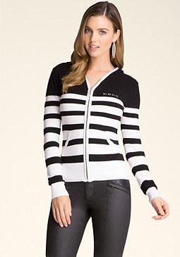 bebe Long Sleeve Striped Hoodie