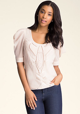 bebe Embellished Chiffon Top