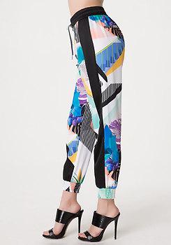 bebe Side Colorblock Print Pants