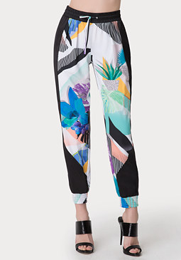 bebe Side Colorblock Print Pants