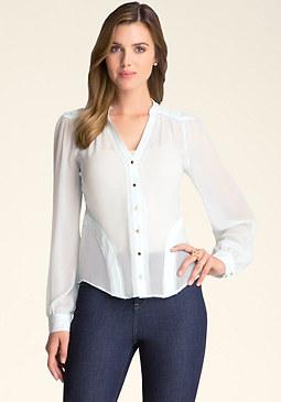bebe Silk Rosette Shirt