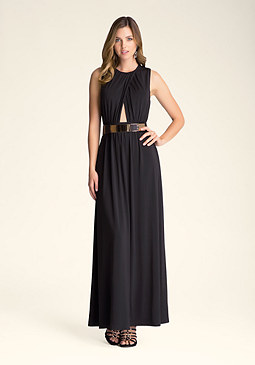 bebe Belted Cutout Gown