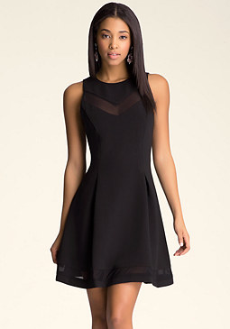 bebe Rina Mesh Flare Dress