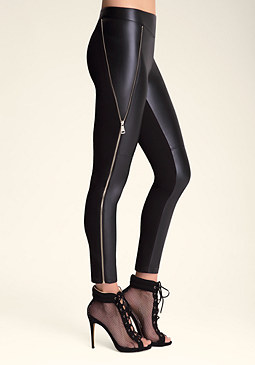 bebe Faux Leather Zip Leggings