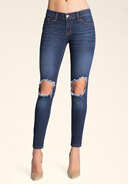 bebe Slashed Knee Skinny Jeans�
