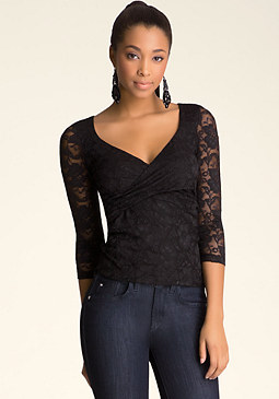 bebe Lace 3/4 Sleeve Wrap Top