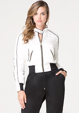 bebe Silk Quilted Bomber Jacket