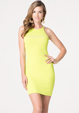 bebe Logo Back Keyhole Dress