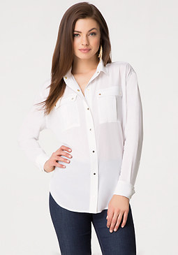 bebe Silk Safari Shirt