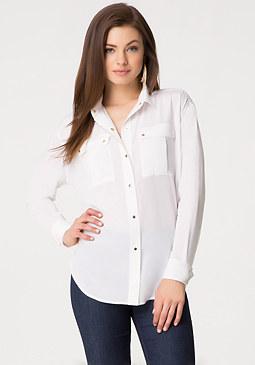 bebe Silk Safari Shirt