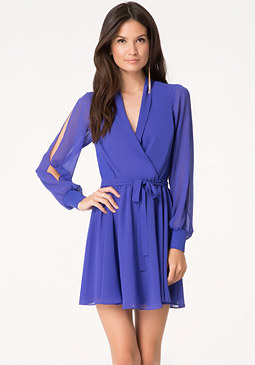 bebe Surplice Flared Dress
