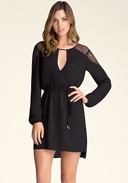 bebe Lace Yoke Dress