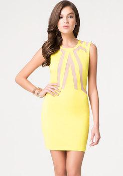 bebe Colorblock Crewneck Dress