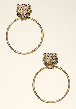 bebe Cougar Hoop Earrings